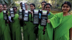 Women with payment terminals